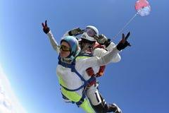 Skydiving照片。 纵排。 免版税图库摄影