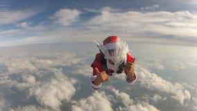 Skydiving Санта Клаус акции видеоматериалы