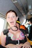 skydiving 在跃迁前的纵排乘客 免版税图库摄影