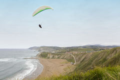 Skydiving. Paraglider flying over a beach near the seashore Royalty Free Stock Image