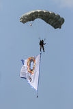 Skydiving attractions. Indonesian soldiers do skydiving attractions in a ceremony, Central Java, Indonesia Stock Images