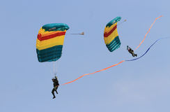Skydiving attractions. Indonesian soldiers do skydiving attractions in a ceremony, Central Java, Indonesia Stock Photo