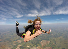 Skydiving brave woman Royalty Free Stock Photos