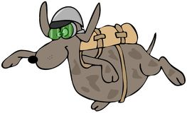 Skydiving dog. This illustration depicts a dog free falling with a parachute pack on its back Royalty Free Stock Images
