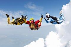 skydiving Dwa instruktora trenują ucznia latać obraz stock