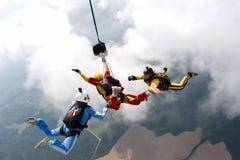 skydiving Dwa instruktora trenują ucznia latać obrazy stock