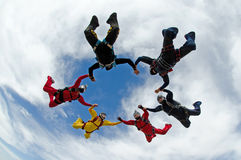 Skydiving formation. Skydiving group of people formation Stock Images