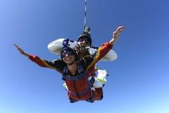 Skydiving Foto. Tandem. Stockfotografie