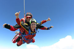 Skydiving Foto tandem Stockfotos