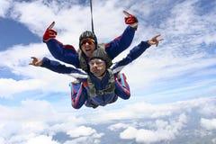 Skydiving Foto. Tandemsprung. Stockbild