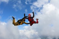 Two skydivers in color suits are falling in the clouds. stock images