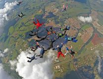 Skydiving group formation royalty free stock photo