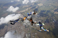 Skydiving group of people formation Royalty Free Stock Images