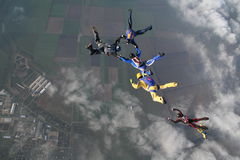 Skydiving group Stock Photos