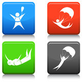Skydiving Icon Set Stock Images