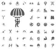 Skydiving icon. Sport illustration vector set icons. Set of 48 sport icons. Skydiving icon. Sport illustration vector set icons. Set of 48 sport icons vector illustration