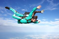 Tandem skydiving stock photography