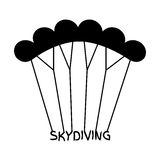 Skydiving logo in flat style. Black extreme sport parachuting em Royalty Free Stock Images