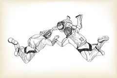 Skydiving man parachutist stock illustration