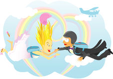 Skydiving Marriage Royalty Free Stock Images