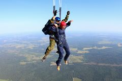 Skydiving. The moment of parachute deployment. royalty free stock photos