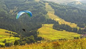 Skydiving in a mountains. Carpathians Royalty Free Stock Photography