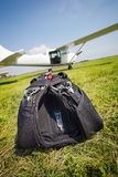 Skydiving parachutes ready to international competition. Stock Photo