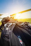 Skydiving parachutes ready to international competition. Royalty Free Stock Images