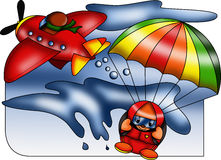 Skydiving that passion. Color illustration showing a passion for an extreme sport but unique charm royalty free illustration