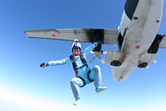 Skydiving photo. The athlete performs a free-fall parachutist royalty free stock photo