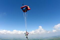 Skydiving photo. Sport Tandem jump, the parachute opening stock photo