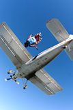 Skydiving photo. Jump from an airplane. Tandem jump royalty free stock images