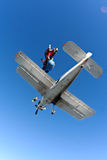 Skydiving photo. Jump from an airplane AN-3, racing tandem jump stock photo