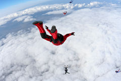 Skydiving photo. Several paratroopers do sports in a free fall jump royalty free stock images