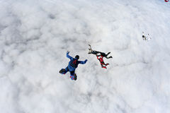Skydiving photo. Several paratroopers do sports in a free fall jump stock photo