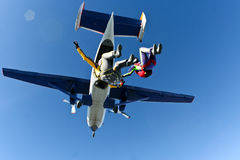Skydiving photo. Two Sports skydiver performs free fall royalty free stock photos