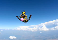 Skydiving photo. Sports skydiver performs free fall stock photos