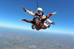 Skydiving photo. Sport Tandem jump,free fall stock photo