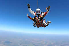 Skydiving photo. Sport Tandem jump, free fall stock image