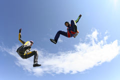Skydiving photo. Two girls in free fall stock photography