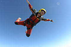 Skydiving photo. The student performs the task parachutist in free fall stock photo
