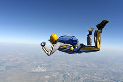 Skydiving photo. The student performs the task skydiver in freefall stock image
