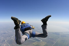 Skydiving photo. The student performs the task skydiver in freefall stock photos