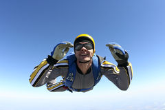 Skydiving photo. A jumper in the classic pose of free fall stock images