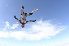 Skydiving photo. Skydiver does fall headfirst stock photos