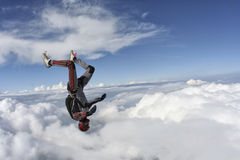 Skydiving photo. Skydiver does fall headfirst stock images