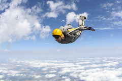 Skydiving photo. The student performs the task skydiver in freefall stock images