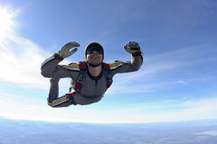 Skydiving photo. Student skydiver in freefall stock images