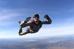 Skydiving photo. Student skydiver in freefall stock photos