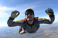 Skydiving photo. Student skydiver in freefall royalty free stock image